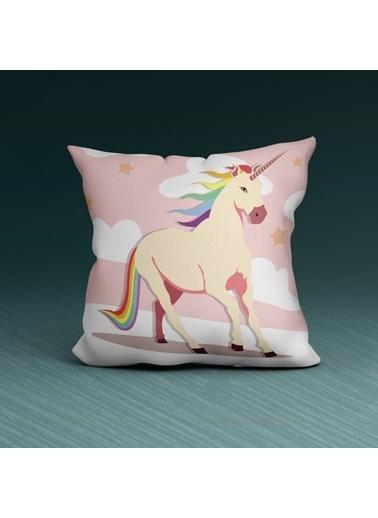 Artikel Pembe Unicorn Desenli Dekoratif Çift Taraflı Yastık Kırlent Kılıfı 45x45 cm Renkli